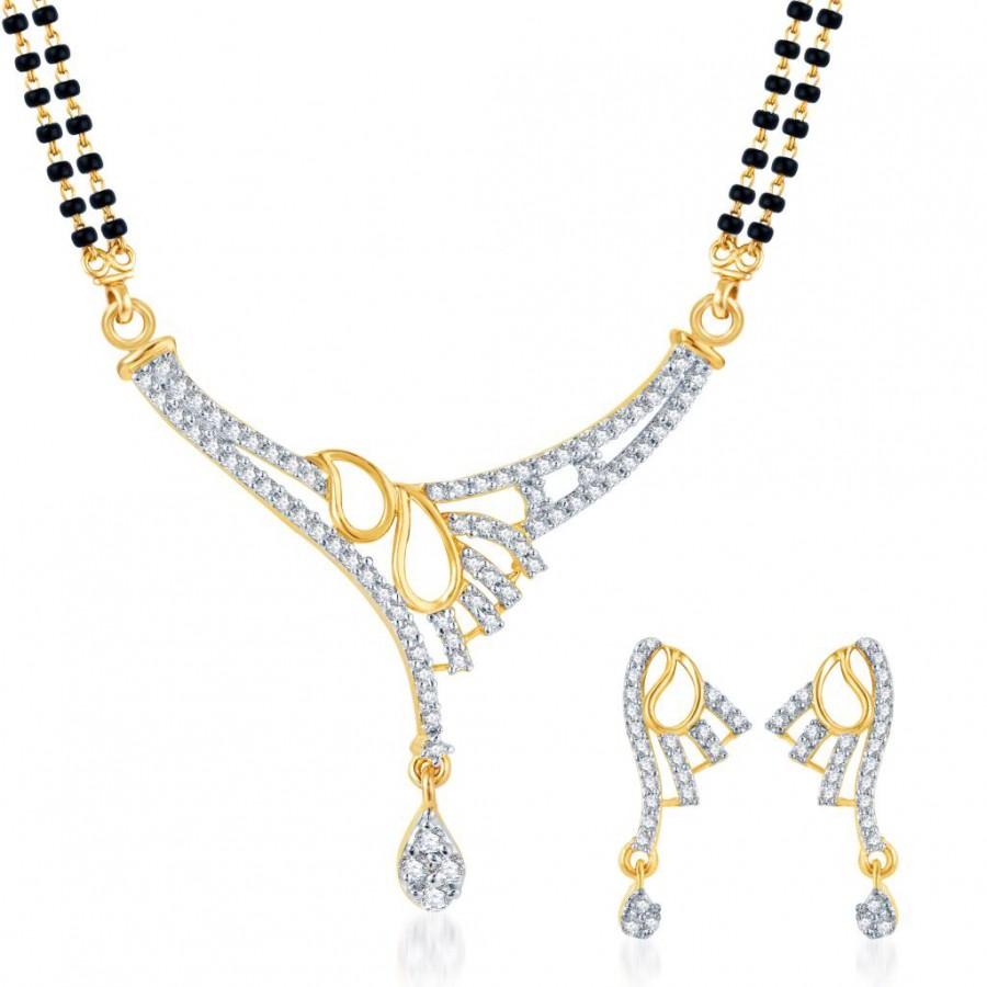 Buy Pissara Fine Design CZ Gold and Rhodium Plated Mangalsutra Set Online