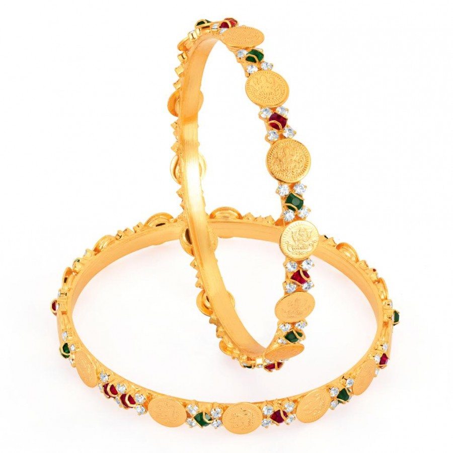 Buy Sukkhi Gold Plated lord Lakshmi Multi color stone bangles - 1142VB900 Online