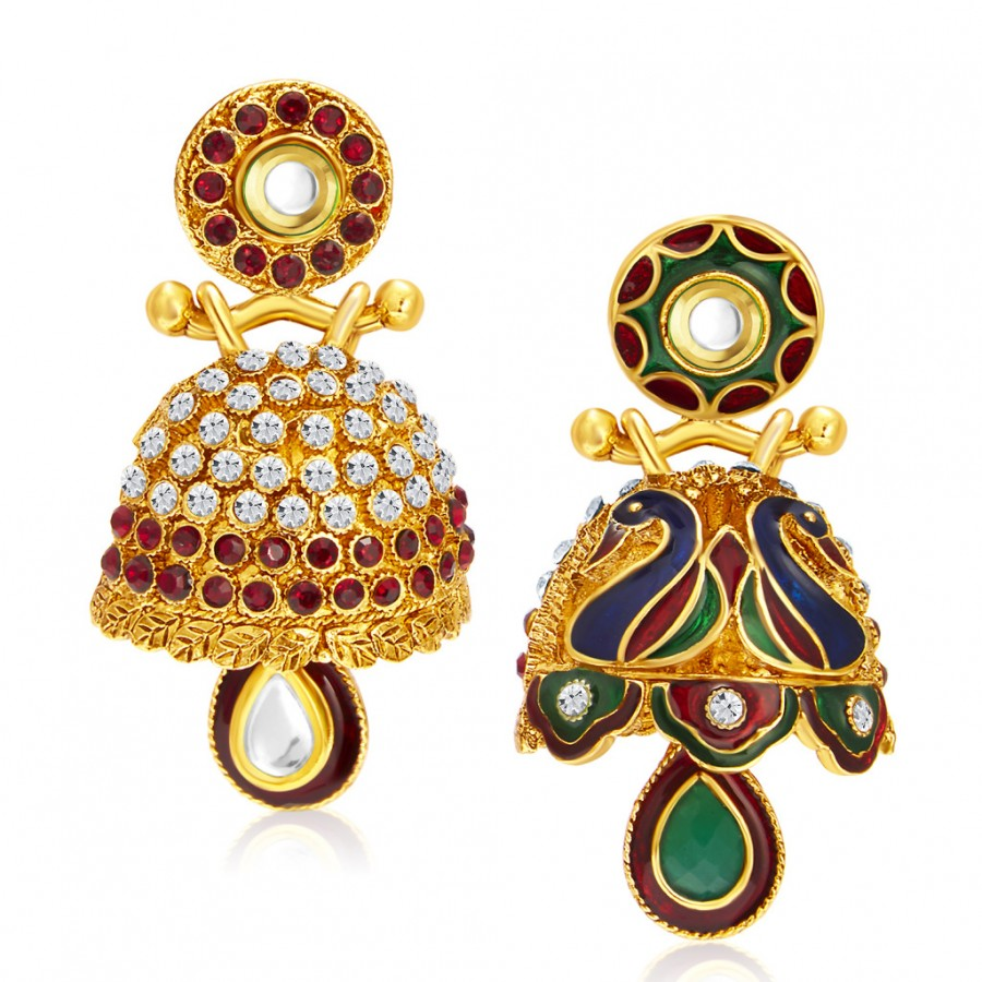 Buy Sukkhi Modish Peacock Meenakari Gold Plated Jhumki Reversible Earring For Women Online