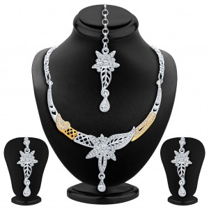 Buy Sukkhi Exquitely Gold and Rhodium Plated AD Necklace Set Online