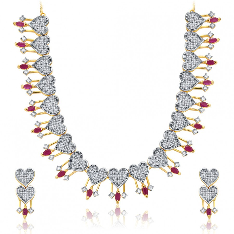Buy Pissara Love Hearts Gold And Rhodium Plated Ruby CZ Neklace Set For Women Online