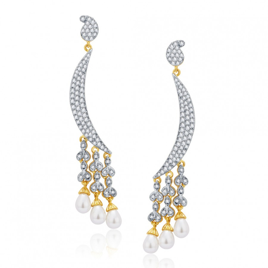 Buy Pissara Mystifying Gold And Rhodium Plated CZ Earrings For Women Online