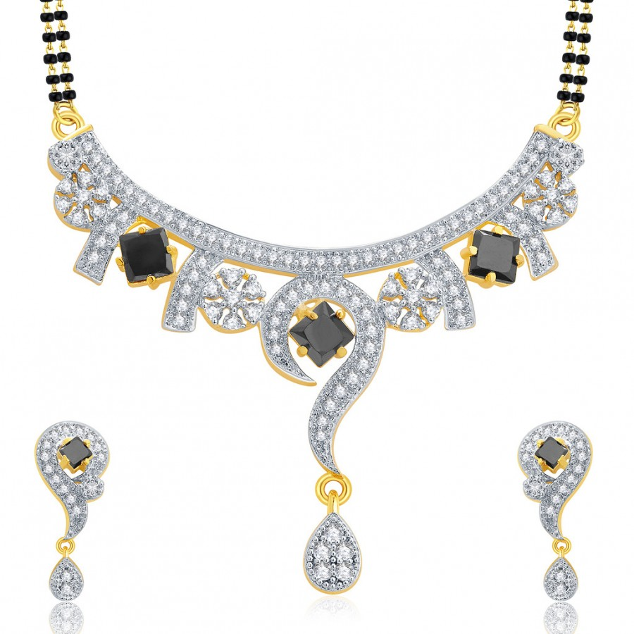 Buy Pissara Harmonious Gold And Rhodium Plated CZ Mangalasutra Set For Women Online