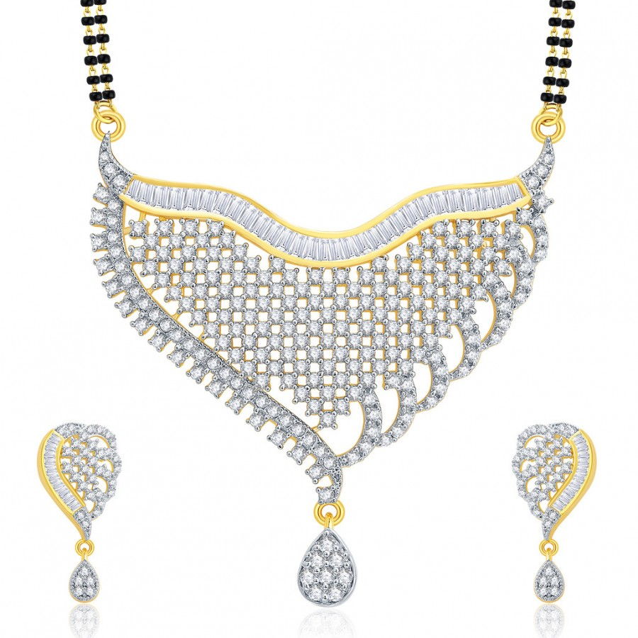 Buy Pissara Fascinating Gold And Rhodium Plated CZ Mangalasutra Set For Women Online