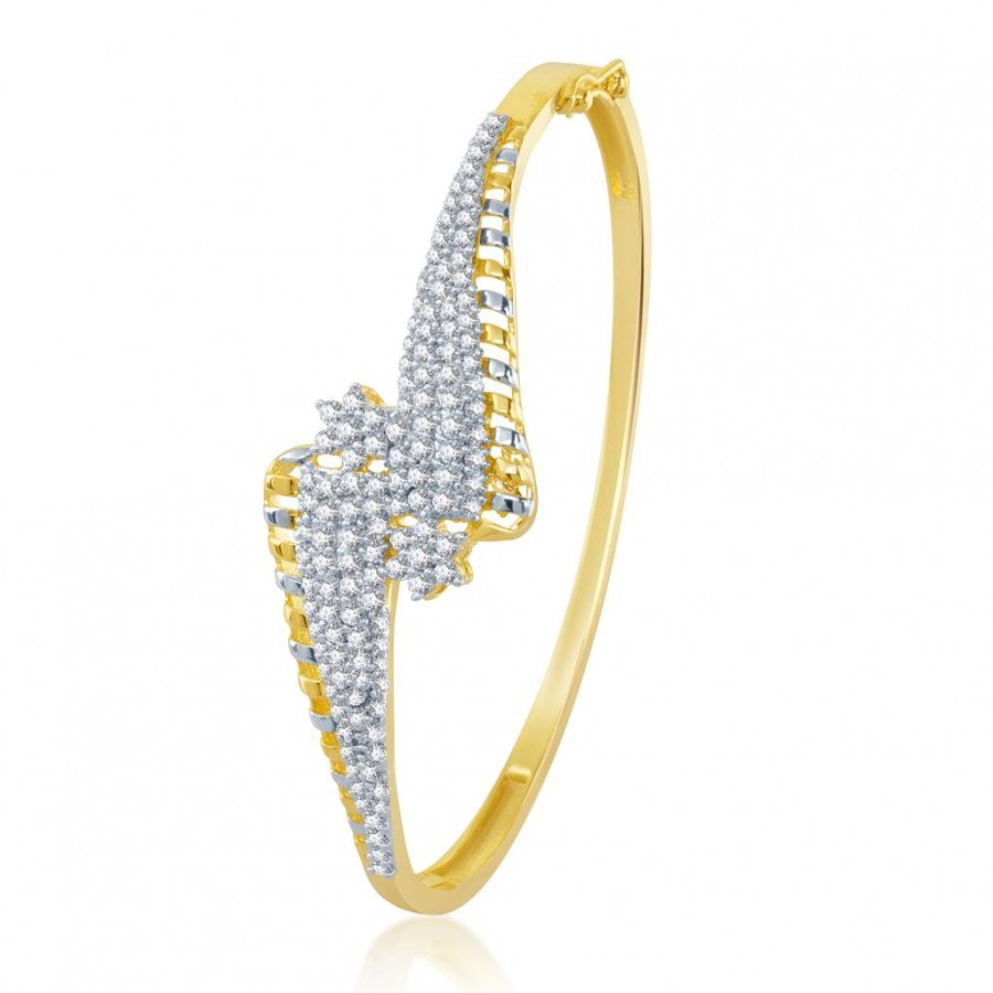 Buy Pissara Bewitching Gold and Rhodium Plated Cubic Zirconia Stone Studded Kada Online