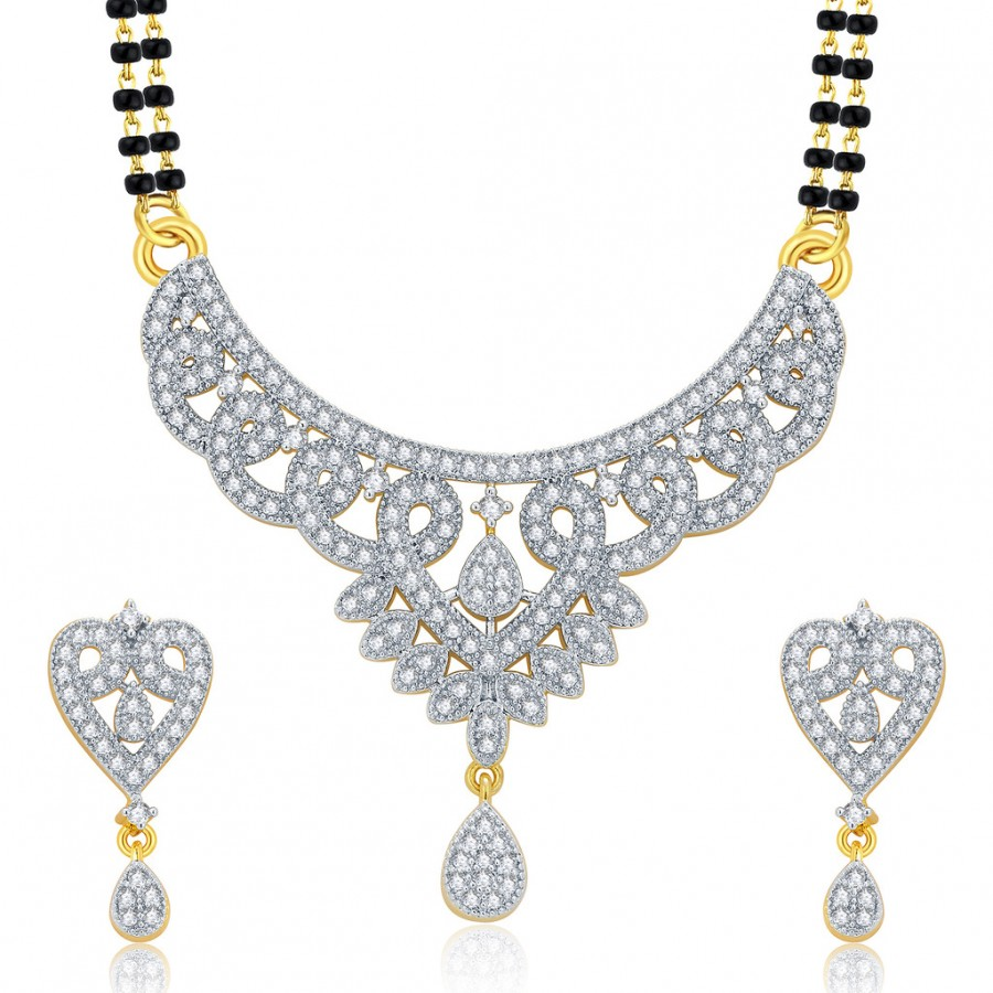 Buy Pissara Glittering Gold And Rhodium Plated CZ Mangalasutra Set For Women Online