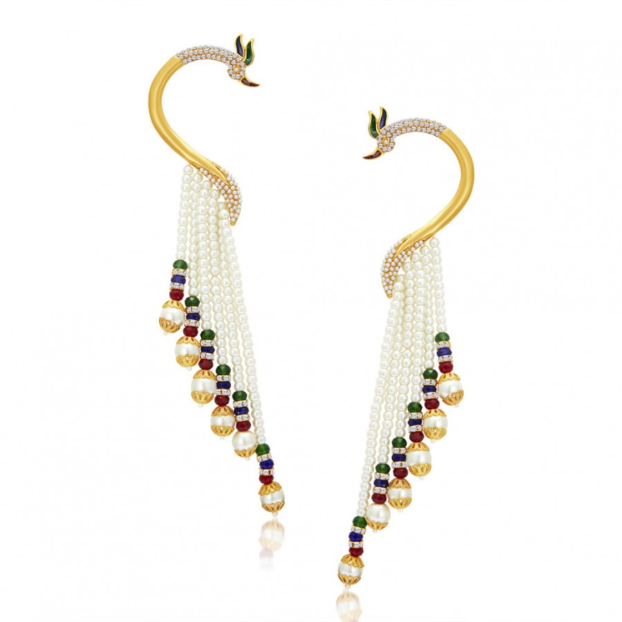 Buy Sukkhi Designer Peacock Gold Plated Pearl Earcuff For Women Online