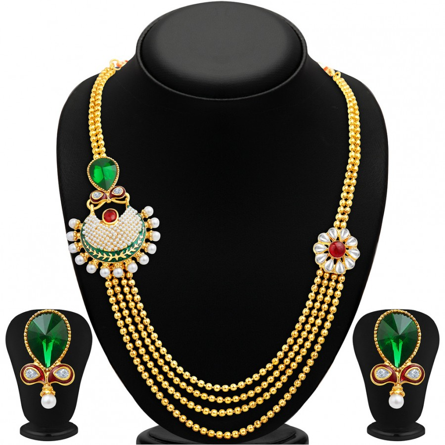 Buy Sukkhi Exquitely Four Strings Gold Plated Necklace Set Online