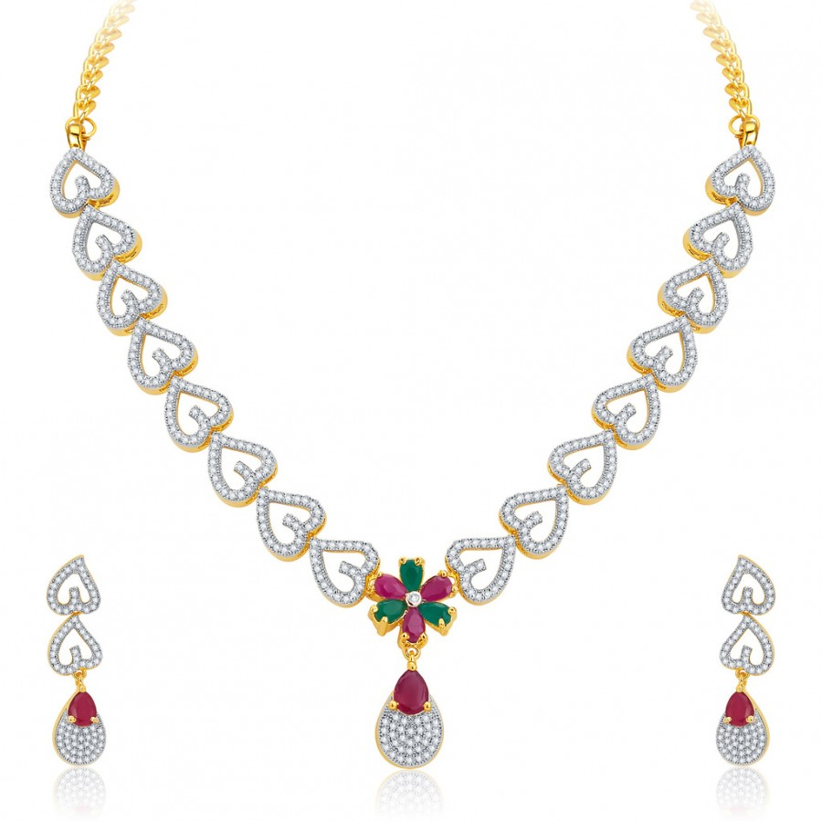 Buy Pissara Classy Gold Plated CZ Necklace Set For Women Online