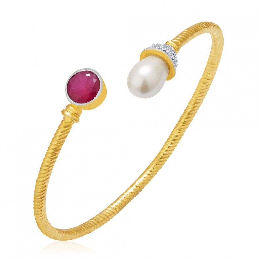 Buy Pissara Heavenly Pearl Gold And Rhodium Plated Ruby CZ Kada For Women Online