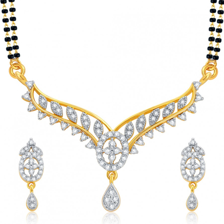 Buy Pissara Fine Gold and Rhodium Plated CZ Mangalsutra Set For Women Online