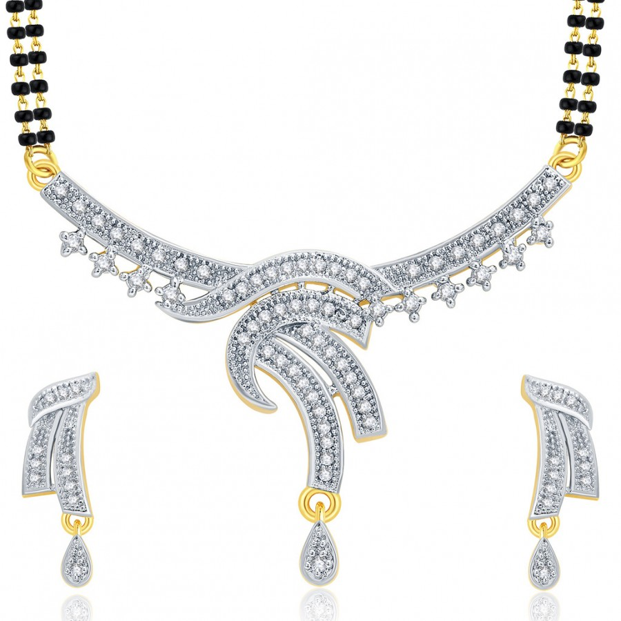 Buy Pissara Fabulous Gold And Rhodium Plated CZ Mangalasutra Set For Women Online