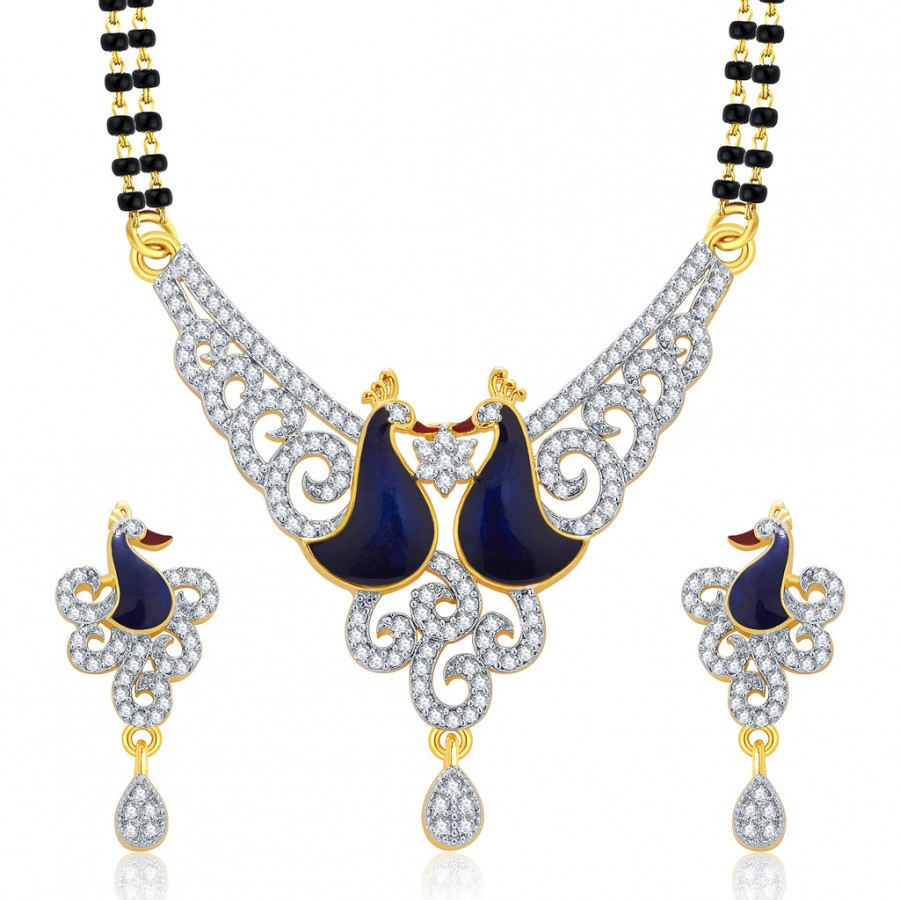 Buy Pissara Precious Peacock Gold And Rhodium Plated CZ Mangalasutra Set For Women Online