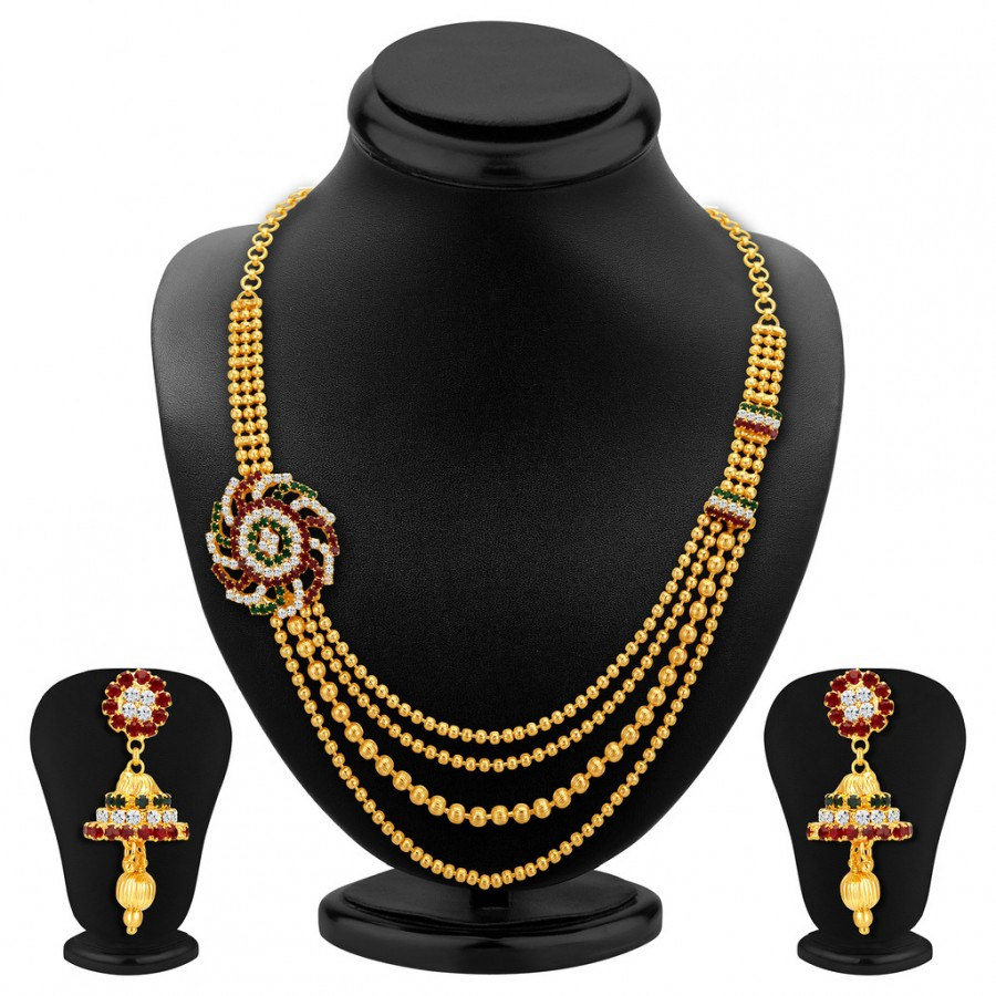 Buy Sukkhi Excellent Four Strings Gold Plated Necklace Set Online