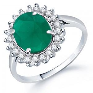 Buy Sukkhi Moddish Rodium plated CZ Studded Emerald Ring Online
