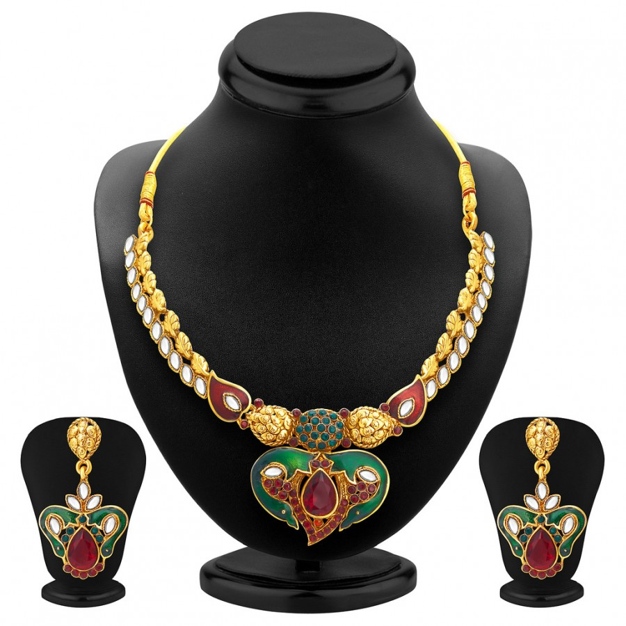 Buy Sukkhi Attractive Gold Plated Kundan Necklace Set For Women Online