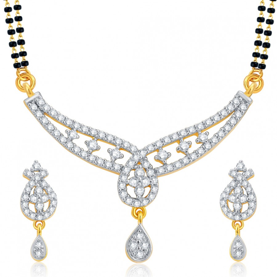Buy Pissara Astonishing Gold and Rhodium Plated CZ Mangalsutra Set For Women Online