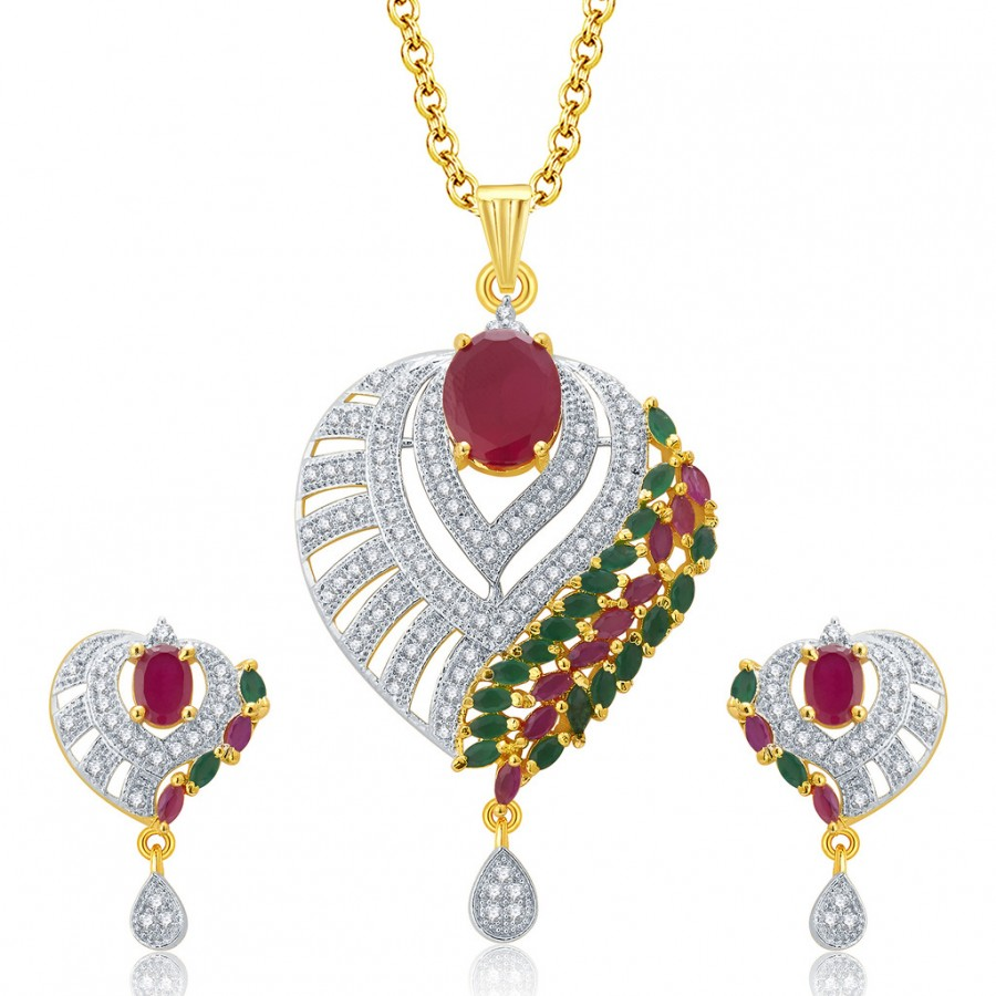 Buy Pissara Gleaming Gold And Rhodium Plated Ruby CZ Pendant Set For Women Online