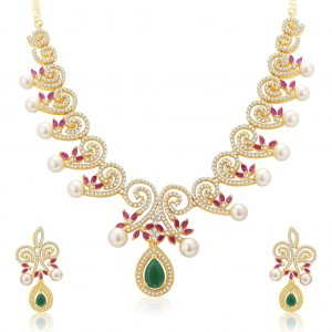 Buy Pissara Attractive Gold And Rhodium Plated Ruby CZ Neklace Set For Women Online