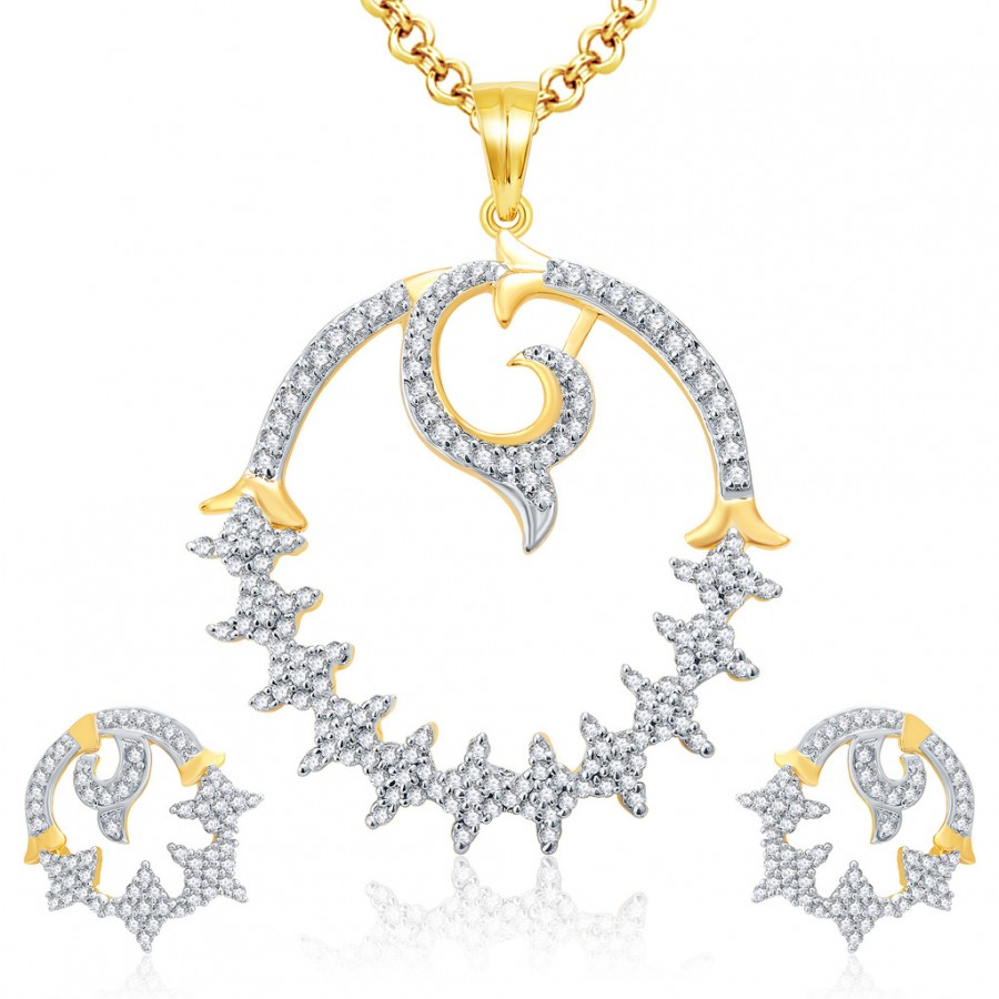 Buy Pissara Designer Gold And Rhodium Plated CZ Pendant Set For Women Online