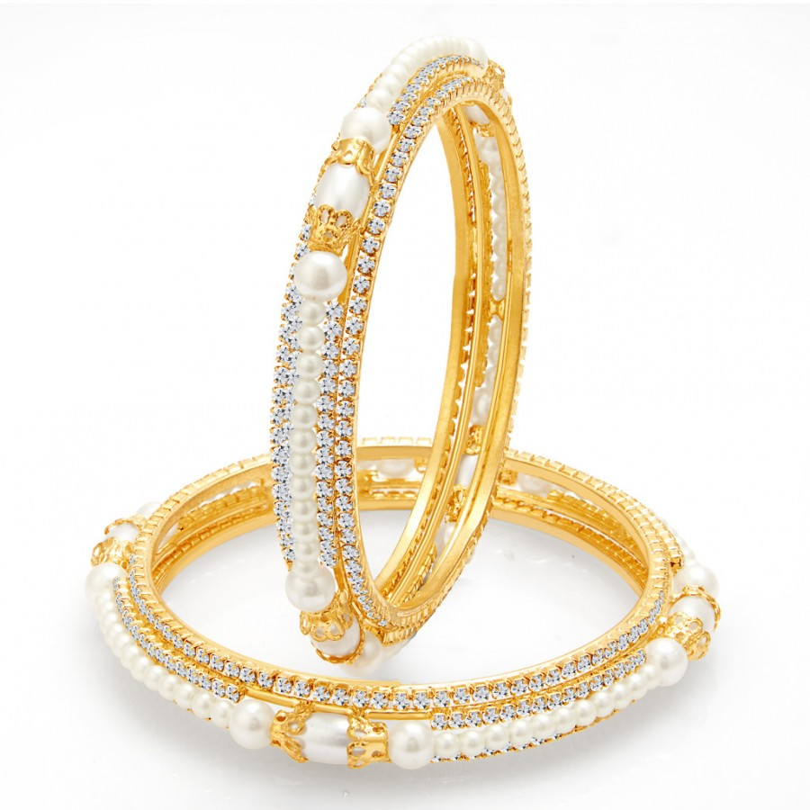 Buy Sukkhi Astonishing Gold Plated Pearl AD Bangle For Women Online