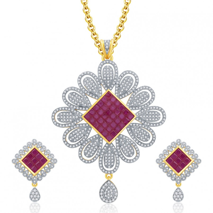 Buy Pissara Delight Gold And Rhodium Plated Ruby CZ Pendant Set For Women Online