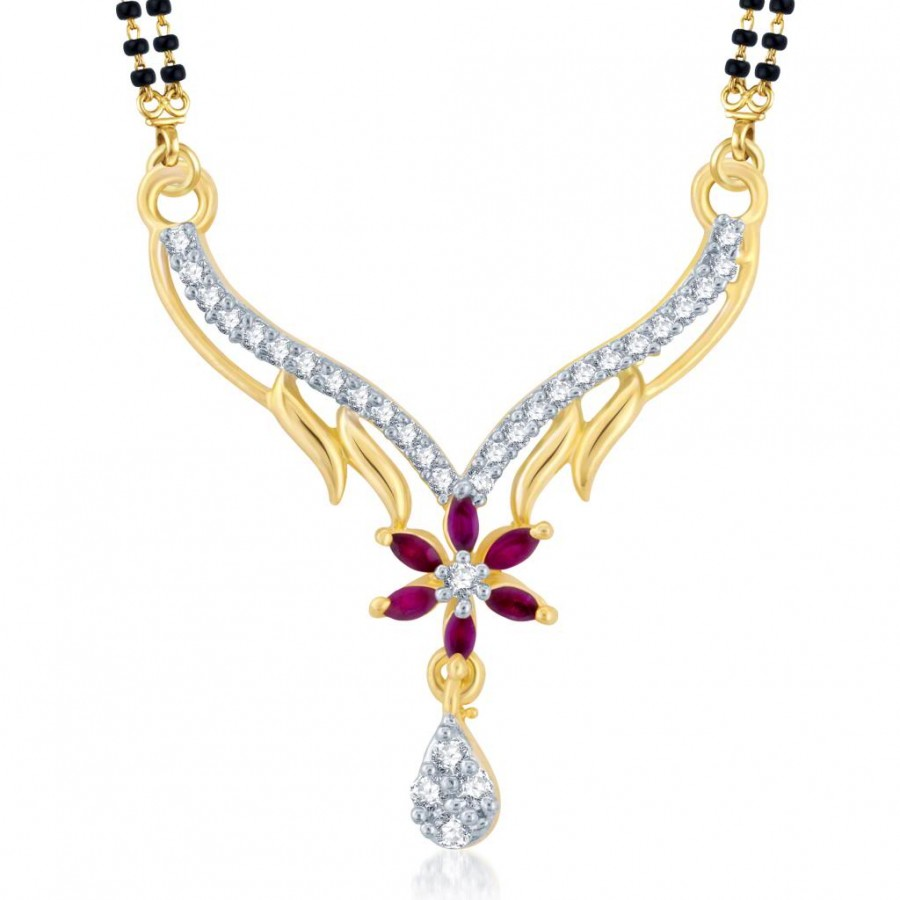 Buy Pissara Ethnic Gold and Rhodium Plated Cubic Zirconia and Ruby Stone Studded Mangalsutra Pendant Online