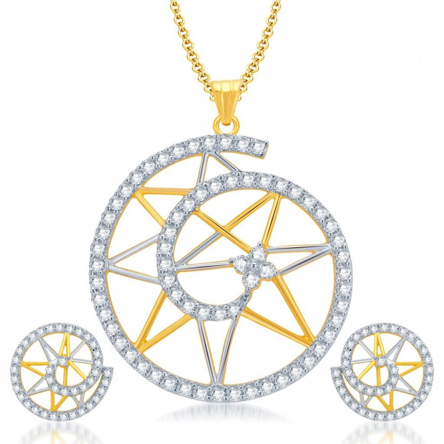 Buy Pissara Glamorous Gold and Rhodium Plated Star CZ Pendant Set for Women Online