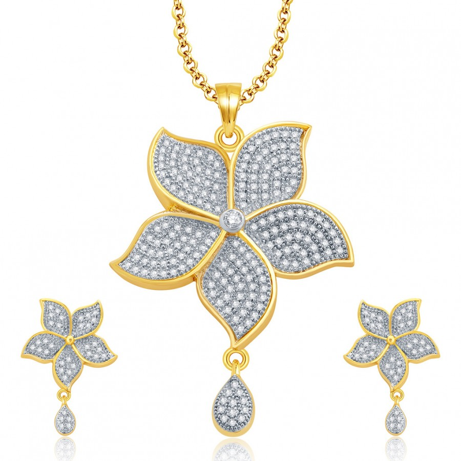 Buy Pissara Luminous Gold And Rhodium Plated CZ Pendant Set For Women Online