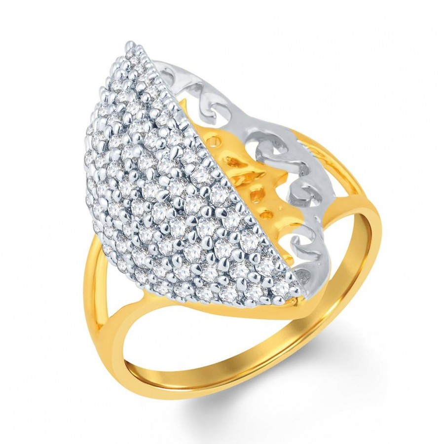 Buy Pissara Modern Gold and Rhodium Plated Cubic Zirconia Ring Online