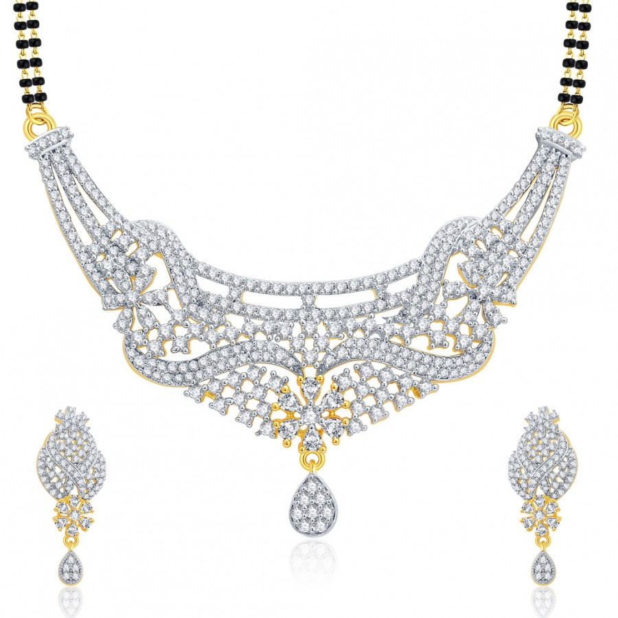 Buy Pissara Memorable Gold And Rhodium Plated CZ Mangalasutra Set For Women Online