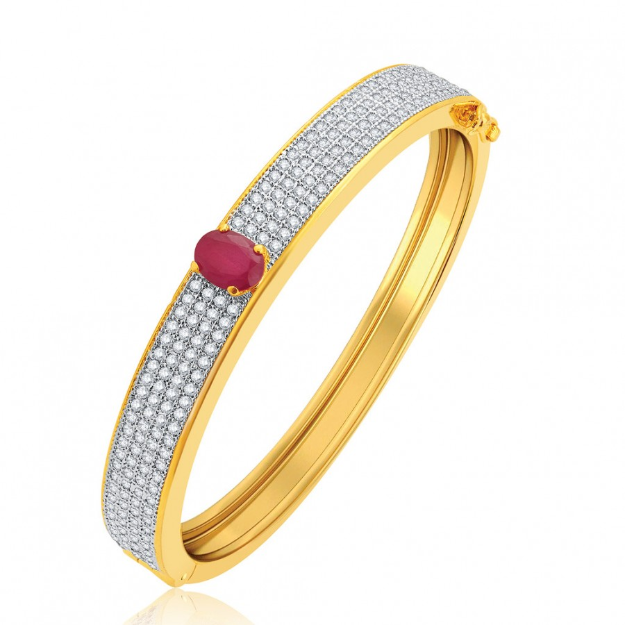 Buy Pissara Delight Gold And Rhodium Plated Ruby CZ Kada For Women Online