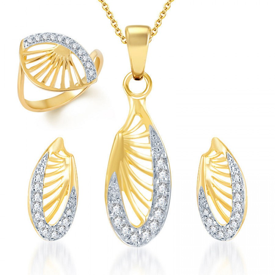 Buy Pissara Glittery Gold and Rhodium Plated CZ Pendant Set and Ring Combo Online