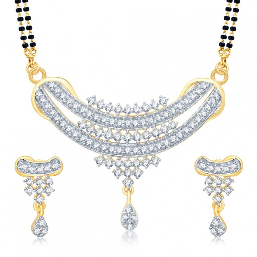 Buy Pissara Angelic Gold and Rhodium Plated Cubic Zirconia Stone Studded Mangalsutra Set Online