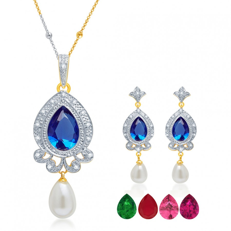 Buy Pissara Glittery Gold and Rhodium Plated CZ Pendant Set with Set of 5 Changeable Stone Online