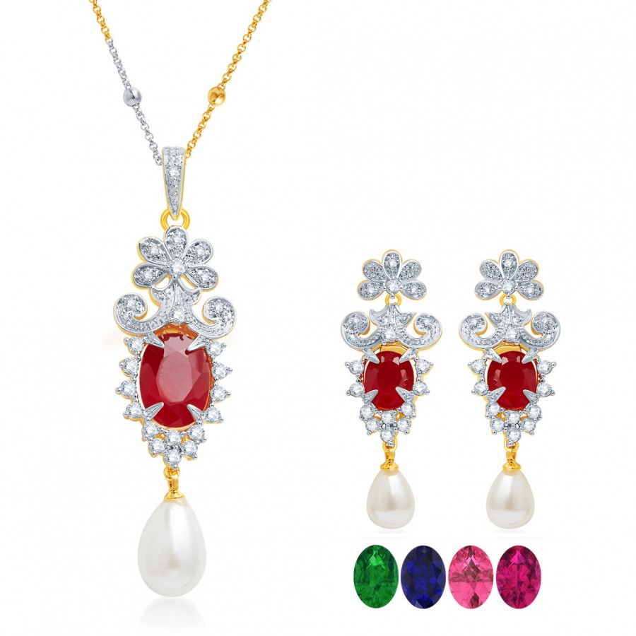 Buy Pissara Graceful Gold and Rhodium Plated CZ Pendant Set with Set of 5 Changeable Stone Online
