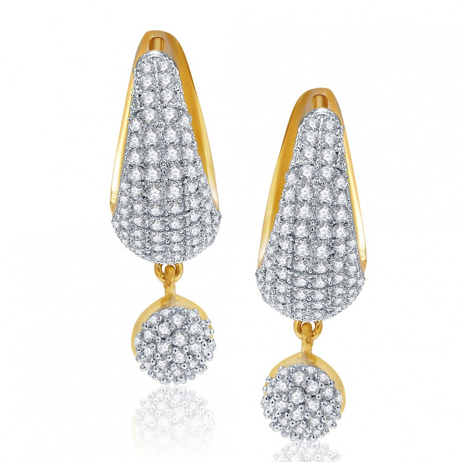 Buy Pissara Intricate Gold And Rhodium Plated CZ Earrings For Women Online