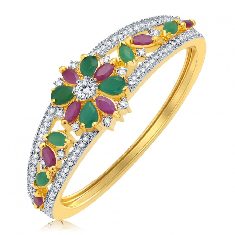 Buy Pissara Sheer Bliss Gold And Rhodium Plated Ruby CZ Kada For Women Online
