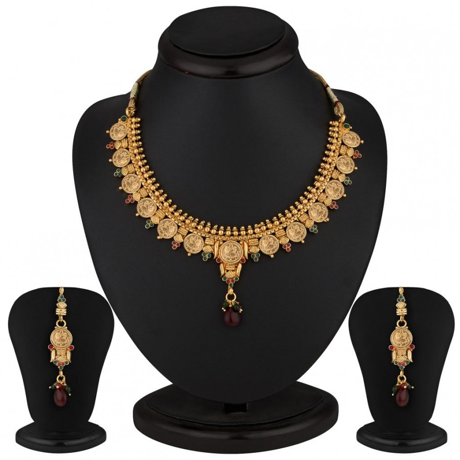 Buy Sukkhi Eye-Catchy Gold Plated Multicoloured Goddess Laxmi Necklace Set Online