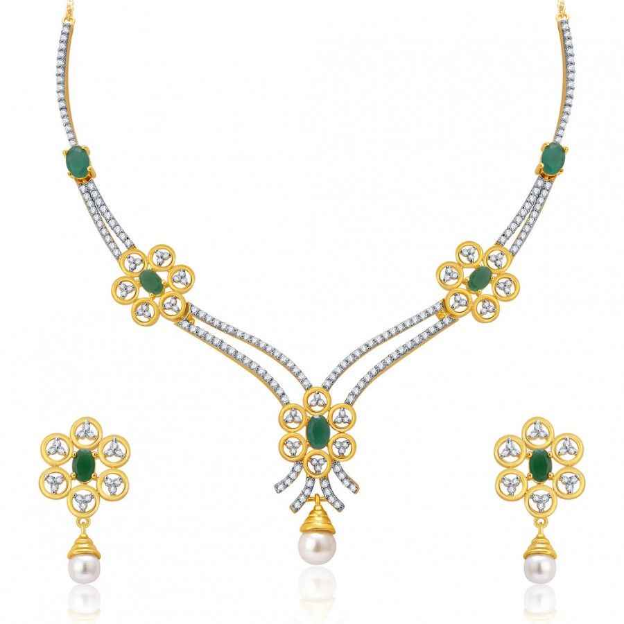 Buy Pissara Clustard Gold And Rhodium Plated CZ Neklace Set For Women Online