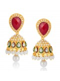 Sukkhi Glimmery Gold Plated Australian Diamond Earrings