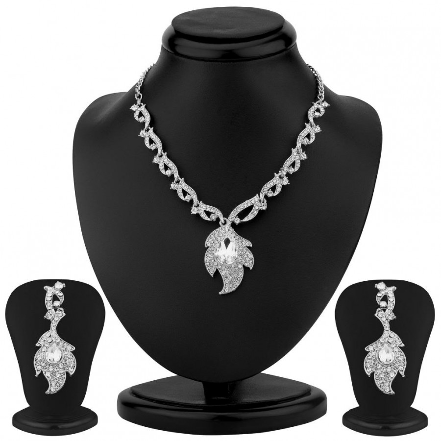 Buy Sukkhi Gleaming Rhodium Plated Necklace Set Online