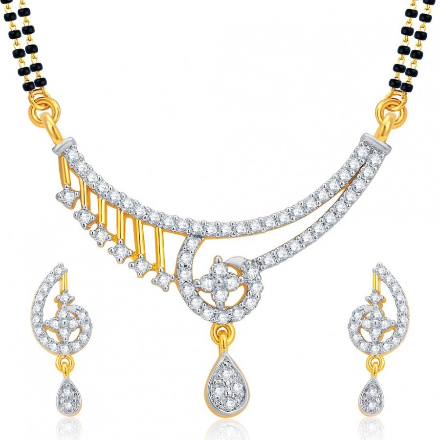 Buy Pissara Charming Gold and Rhodium Plated CZ Mangalsutra Set For Women Online