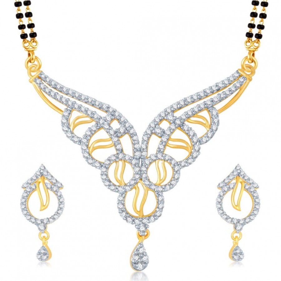 Buy Pissara Enchanting Gold and Rhodium Plated Cubic Zirconia Stone Studded Mangalsutra Set Online
