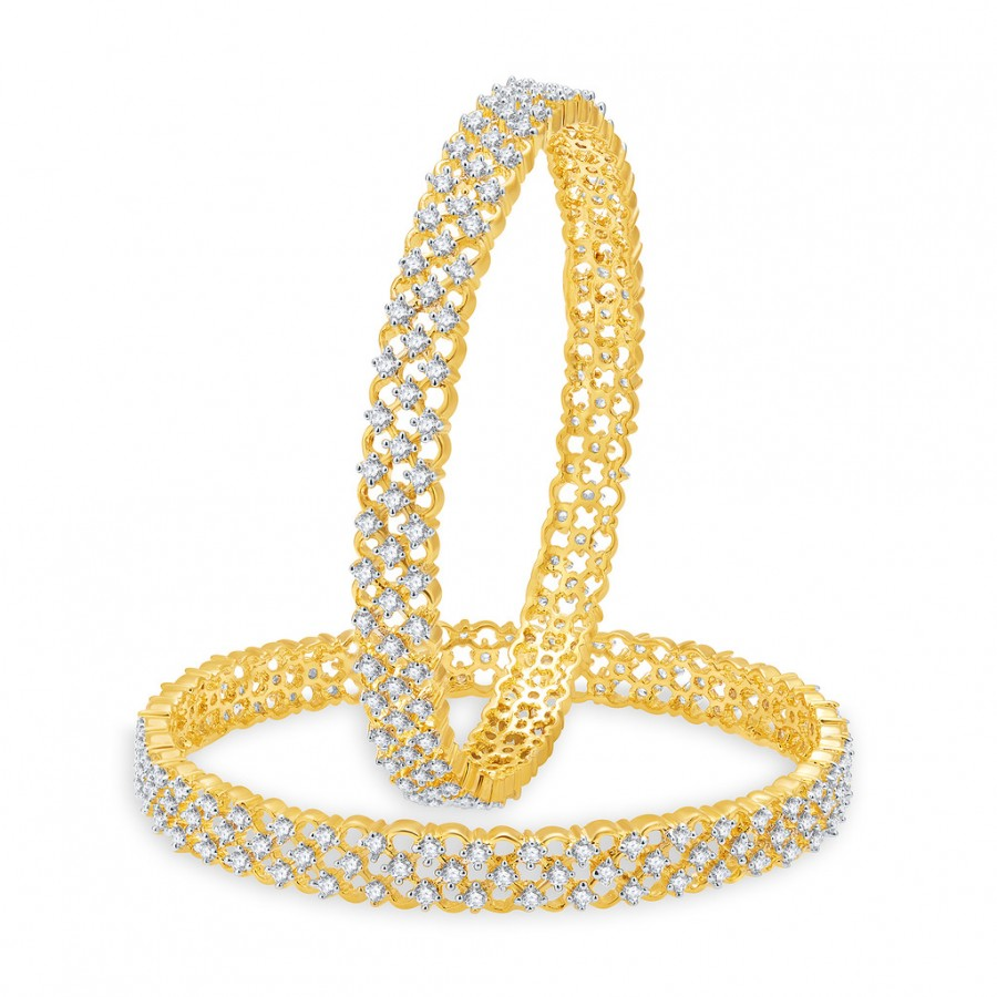Buy Pissara Delightful Gold And Rhodium Plated CZ Bangles For Women Online