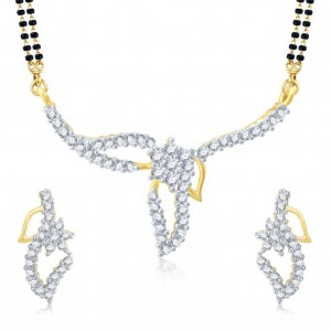 Buy Pissara Youthful Gold and Rhodium Plated Cubic Zirconia Stone Studded Mangalsutra Set Online
