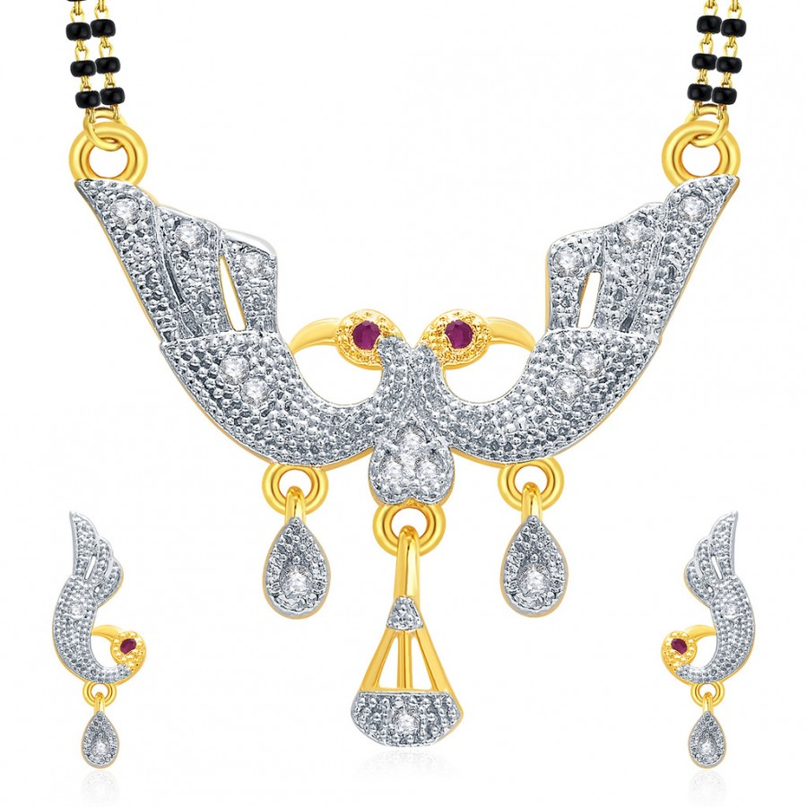 Buy Pissara Flattering Peacock Gold And Rhodium Plated Ruby CZ Mangalasutra Set For Women Online