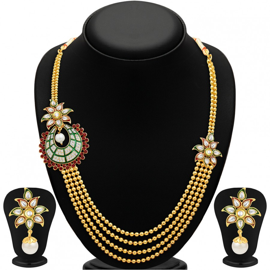 Buy Sukkhi Intricately Four Strings Gold Plated Necklace Set Online