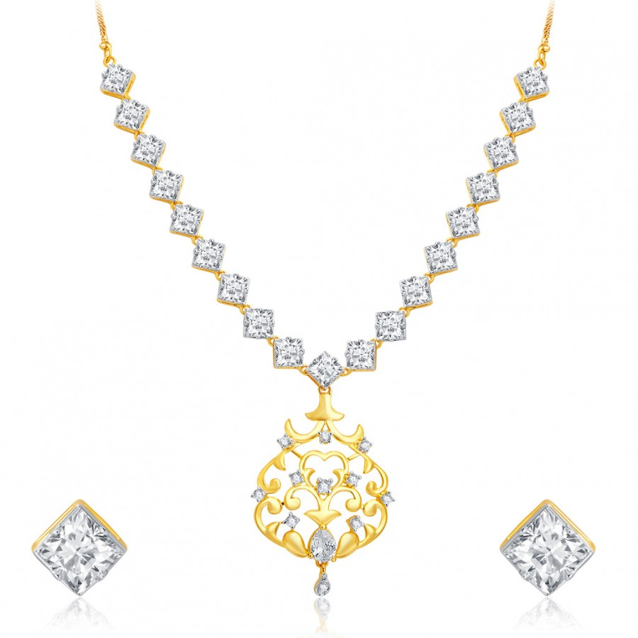 Buy Pissara Intricately Crafted Gold and Rhodium Plated CZ Necklace Set For Women Online