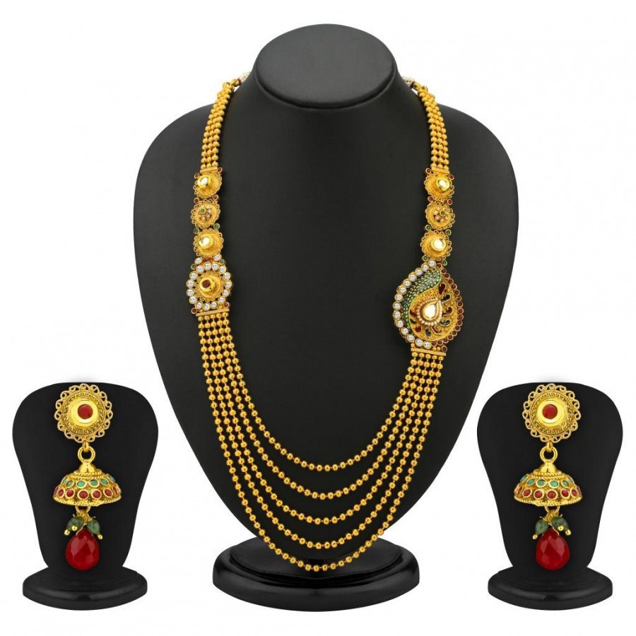 Buy Sukkhi One Sided 5 Strings Gold Plated Antique Necklace Set Online